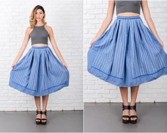 Blue Pleated A Line Skirt Vintage 70s Gingham Plaid Striped High Waist XXS 8052