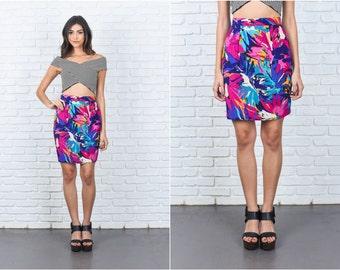 Vintage 80s Mini Skirt Pink Floral Print High Waist XXS 7386