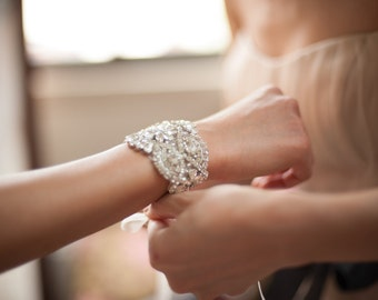 Crystal Cuff, Rhinestone Bracelet, Bridal Cuff, Bridal Bracelet, Crystal Bracelet, Wedding Bracelet, Wedding Jewelry, Bridesmaids Bracelet