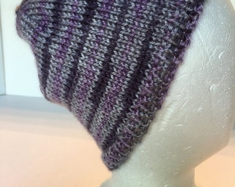 Handknitted Cap in Multi-tones of Gray and Purple