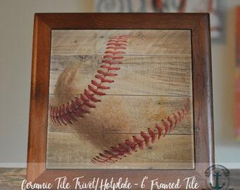 "Trivet Hot Plate: Vintage Baseball   Wood Grain Look America's Pasttime Decor   6"" Ceramic Tile Trivet Kitchen Accessory"