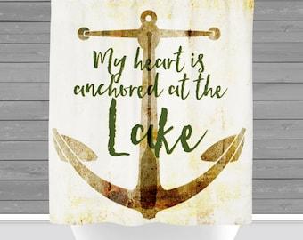Lake Anchor Shower Curtain: Heart at the Lake. Cabin Decor   Made in the USA   12 Hole Fabric Bathroom Decor
