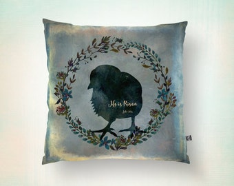 Easter Throw Pillow Little Chick He is Risen Scripture Religious Shabby Chic Spring Decor Product Sizes and Pricing via Dropdown Menu