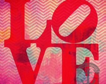Love In Chevron | Modern Feminine Wall Decor | Product Options and Pricing via Dropdown Menu