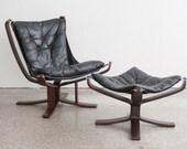 Mid Century Modern Black Leather Chair & Ottoman