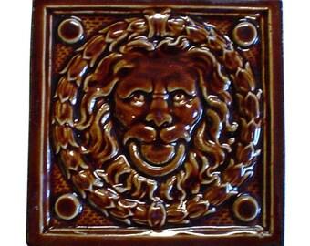 Figural brown lion tile