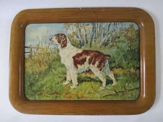 Serving Tray, Metal Vintage Signed '40's Springer Spaniel Dog Lover Gift, Wall Decor Display, Cottage Cabin, Country Hunting Decor