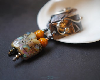 Artisan made earrings...Pumpkin and Turquoise/multi  fabricated metalsmith