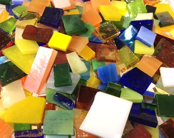 150 MOSAIC #7 GRAB BAG Bonanza!  Stained Glass Mosaic Tiles Mix Size & Color