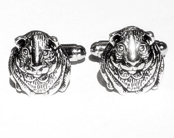 SALE Silver Hamster Cufflinks, Men's Handcrafted Furry Pet Rodent Gerbil Cuff Links, Guys Prom Groom Wedding, Mans Animal Gift
