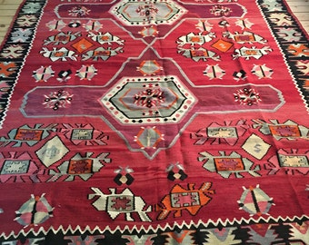 "Absolutely Beautiful Vintage Turkish Kilim 7'7"" x 11'"