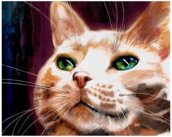 "8x10"" Orange Tabby Cat Watercolor Giclee Fine Art Print [Cat Art, Colorful Cat Art, Unique Wall Décor, Funky Cat Art, Unique Watercolor]"