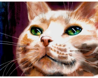 "5x7"" Orange Tabby Cat Watercolor Giclee Fine Art Print [Cat Art, Colorful Cat Art, Unique Wall Décor, Funky Cat Art, Unique Watercolor]"