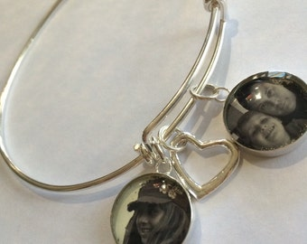 Photo Charm Bangle, .925 Sterling Silver Photo Bangle, Bracelet, Photo Charm Bangle
