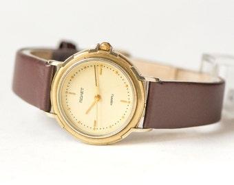 Minimalist woman's quartz watch, simple 90s fashion watch Poljot, ladys watch gold plated, urban fashion watch, new luxury leather strap