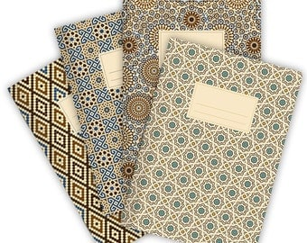 Set of 4 Notebooks Stapled A5 Moroccan Patterns