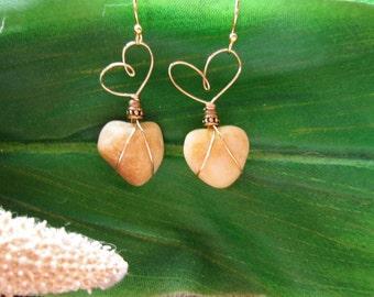 Gold Heart Stone Earrings/Valentine Gift/Earthy/Eco/Boho