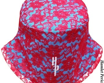 Red Floral Lace Turquoise Women's Bucket Hat | Red and Turquoise Hat | Turquoise Moire Hat | Floral Hat by Hamlet Pericles | HP112415