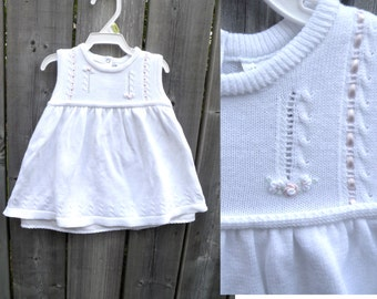 80s 90 Cotton Knit White Baby Dress - 6-12 m