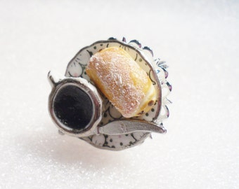 Croissant And Coffee Ring. Polymer Clay.