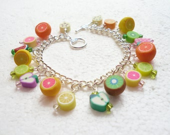 Fruit Salad Bracelet. Polymer clay.