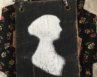 Jane Austen Silhouette Handpainted on Barnwood
