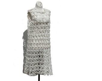 White Cotton Crocheted Sleeve Less Dress