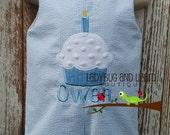 Seersucker First Birthday Cupcake with Candle Jon Jon with Monogam Size Infant 12M, 18M, 24M