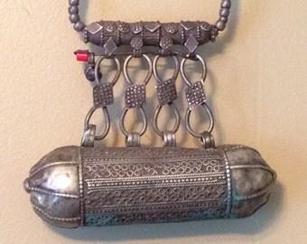 Antique Metal Indian Prayer Holder Necklace