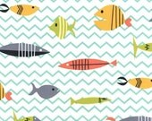 Fat Quarter fabric for quilt or craft Michael Miller Something's Fishy Fat Quarter