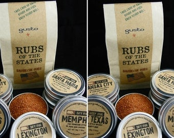 TWO sets of Gusto's Original RUBS of the STATES - Barbecue Rub Gift Set -  Bbq Grilling Spice Collection