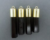 15% Valentines Day Amazing Black Point Pendant -- Big Stone Pendant with Brass Cap and Bail (S71B11)