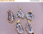 15% Valentines Day Agate Pendant Druzy Available in Gold or Silver Electroplated in Quantity of 1, 3, 5, 10, 20