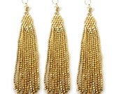 15% Valentines Day Tassel Pendant-- Gold Toned Beaded Tibetan Style Tassel Pendant -- (S13B4)