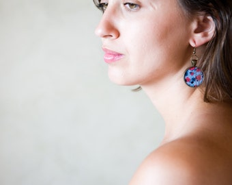 Red Earrings - Big Earrings - Earrings - Flower Earrings - Red Poppy Earrings - Blue Earrings - Art Jewelry (0-29-1E)