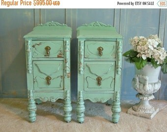 15% OFF 2 LOVELY NIGHTSTANDS - Restored Wood Antique Nightstands - Perfect For Your Little Girl or Boy, Princess or Prince - Paint Any Color