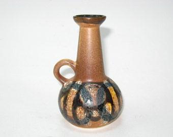 Lapid Israel Mid Century Pottery Mini Pitcher- Textured Glaze Abstract Hand Painted Bud Vase