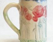 ceramic red flower coffee mug 16oz stoneware 16A017