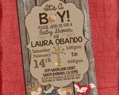 Woodland Baby Shower Invitation It's A Boy Theme Baby Shower Invitation -Invite - I design you print