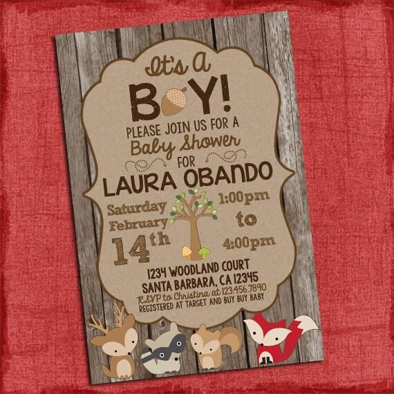 woodland baby shower invitation it 39 s a boy theme baby