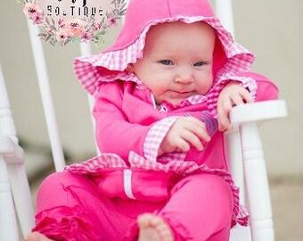 Girl's Pink Ruffle Sleeve Jacket with Pink Gingham - Monogrammed Jacket - Monogrammed Girl's Fall zip jacket -Monogram Jacket -Winter Hoodie