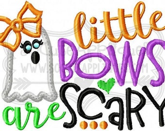 Little Bows are scary - Halloween Applique Shirt - Girl's Halloween Shirt - Holiday Designs - Monogrammed Shirt
