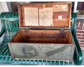 Vintage Army, Navy Marine Military Foot Locker Trunk Footlocker, storage trunk.