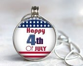 ArtClix Magnetic Interchangeable Pendant with Planets Charm - Snaps In and Out - Interchangeable - Fourth of July - Flag