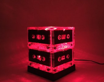 Red Cassette Tape Light Mixtape Lamp