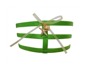 """SALE HALF PRICE Amathia lime green triple strap leg garter with gold sealife charms - One Size - up to 22"""" thigh - strappy lingerie"""