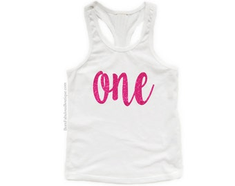 First Birthday Tank Shirt ~ ONE SPARKLE Top ~ Toddler Baby's 1st Glitter Writing ~ Cute Birthday Party  Boutique Over The Top