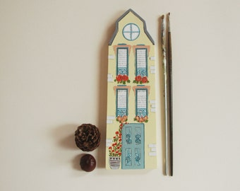 Little House Wall Decor,Wooden  House Miniature  Original Art Wedding Gift Shower Gift Anniversary Gift House Warming