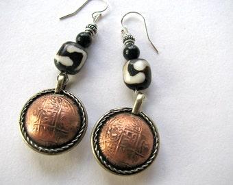 Dangle earrings, Copper coins with batik bone beads, Sterling ear wires