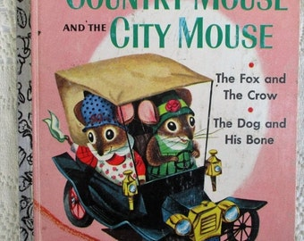 SUMMER SALE 50% Off SALE 50 Percent Off, The Country Mouse and The City Mouse,  A Little Golden Book, Collectible Children's Book